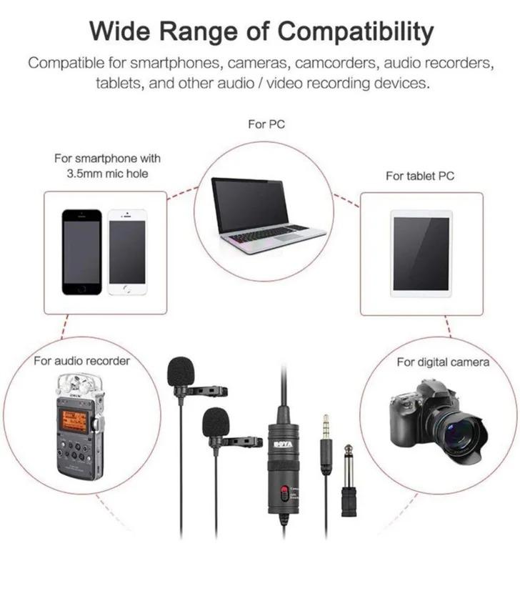 میکروفن یقه ای بویا BOYA BY-M1DM Dual Lavalier Microphone